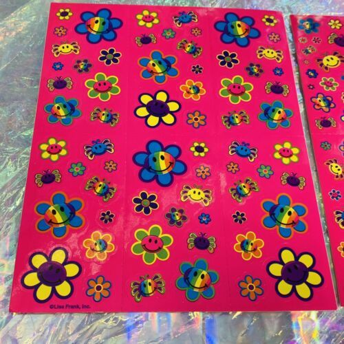 2 COMPLETE  S757 S496 Lisa Frank Smiley Face Flower Spiders Sticker Sheets