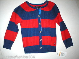 New NWT $45 Girls S 4 6 Nautica Cable Knit Cardigan Red Blue Stripe Swea... - $20.00