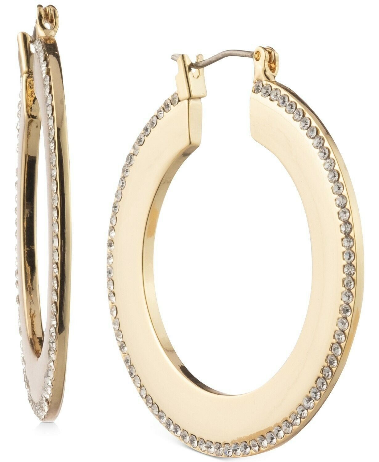 Primary image for DKNY Donna Karan Gold-Tone Medium Pavé Knife-Edge Crystal Hoop Earrings NEW