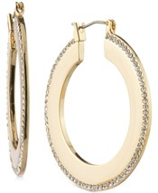 DKNY Donna Karan Gold-Tone Medium Pavé Knife-Edge Crystal Hoop Earrings NEW - $22.00