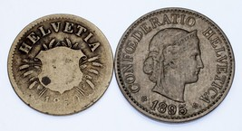Switzerland Lot of 2 Coins (1850 5 Centime VG, 1895 10 Centime XF) Nice! - $34.65