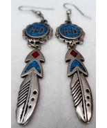 Harley Davidson Dangling Feather Drop Earrings Pierced Silvertone - $20.00