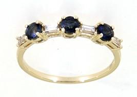 Blauer Saphir Edelstein 14K Gelbgold 0.68CT Natürlich Drei Stein Diamant... - $414.94