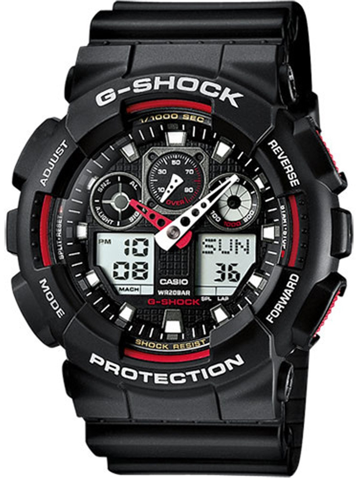 Casio Men's G Shock Black and Red Analog GA100-1A4 Watch Wristwatch for sale  USA
