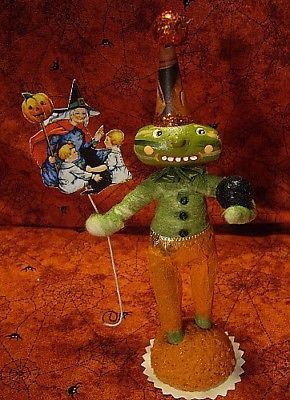 Vintage Inspired Spun Cotton Paper Mache Watermelon Man Ornament No.268,Hallowee
