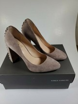 Vince Camuto High Heels Shoes 7M Stone Taupe Suede Dallan Style Lace Back - $24.75