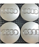 4 Pcs, Audi GRAY Chrome Logo Center Wheel Hub Cap 60mm for A3, A4, A6, A... - $17.81