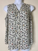Apt 9 Womens Plus Size 1X White Bird Pattern Button Up Shirt Sleeveless - $15.84