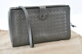 BOTTEGA VENETA Intrecciato Leather Clutch Bag Gray Auth 9977 - $298.00