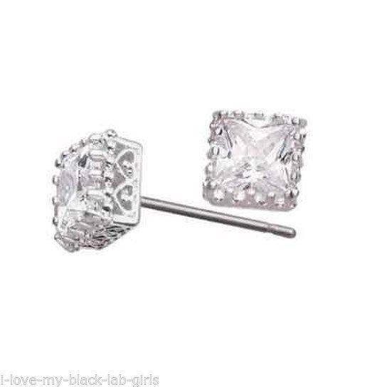 Earring Princess Cut CZ Stud Silvertone Pierced Earrings ~NEW~ Circa 2012-Square - $19.75