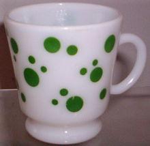 HAZEL ATLAS GLASS-- GREEN DOTS (BALLOONS) MUG - $6.95