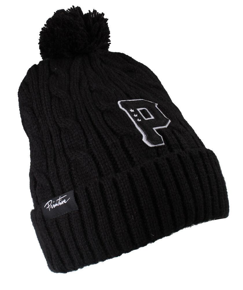 Primitive New Era Timeless Cable Knit Skate Pom Beanie Black or Gray Ski Hat NWT