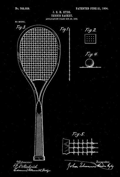 Primary image for 1904 - Tennis Racket - J. E. H. Hyde - Patent Art Poster