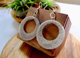 Statement Silver Dangle Hoop Earrings - $8.20