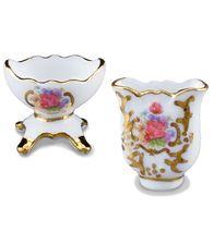 DOLLHOUSE Pair Fancy Flower Vase Set 1.615/5 Reutter Porcelain Miniature - $14.05