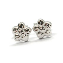 18K WHITE GOLD KIDS EARRINGS, FINELY HAMMERED MINI FLOWER DAISY, 0.28 INCHES   image 1