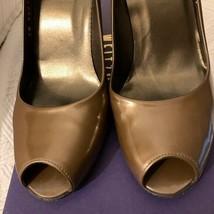 Stuart Weitzman Leather Peep-Toe Pumps in BRONZE  Size 7.5 - $15.83
