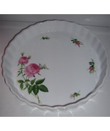 "Oneida Quiche Dish Rose Pattern Fluted Edge 9.5"" x 1.5"" Microwave Safe - $11.99"