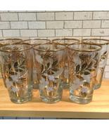 Vtg MCM Set 7 Highball Cocktail Glasses White Flower Gold Gilted Rim Bar... - $35.00