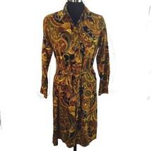 Vtg Groovy Wide Collar Pullover Shirt Dress Paisley Long Sleeve Gold Bro... - $49.01