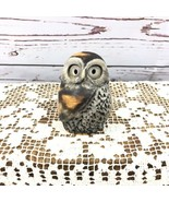 Vintage Carved Owl Bird Hand Painted Statue Figurine Brown Tan Gray - $40.26