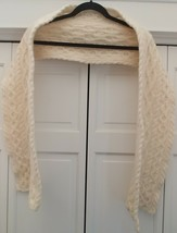 ARAN SWEATER MARKET IRISH WHITE 95% WOOL 5% CASHMERE SCARF MADE IRELAND ... - €23,10 EUR