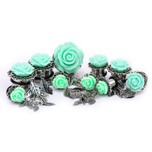 "PAIR-Rose Green w/Leaf Dangles Steel Single Flare Ear Plugs 19mm/3/4"" Ga... - $8.99"