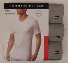 3 TOMMY HILFIGER SLIM FIT MENS COTTON GRAY V NECK LARGE XL T-SHIRTS UNDE... - $26.90