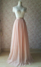 Blush Pink Full Long Tulle Skirt Blush Wedding Tulle Skirt Bridesmaid Outfit image 2