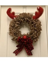 Christmas wreath, Rudolph wreath, Rudolph the red-nosed, Reindeer Wreat - $56.09