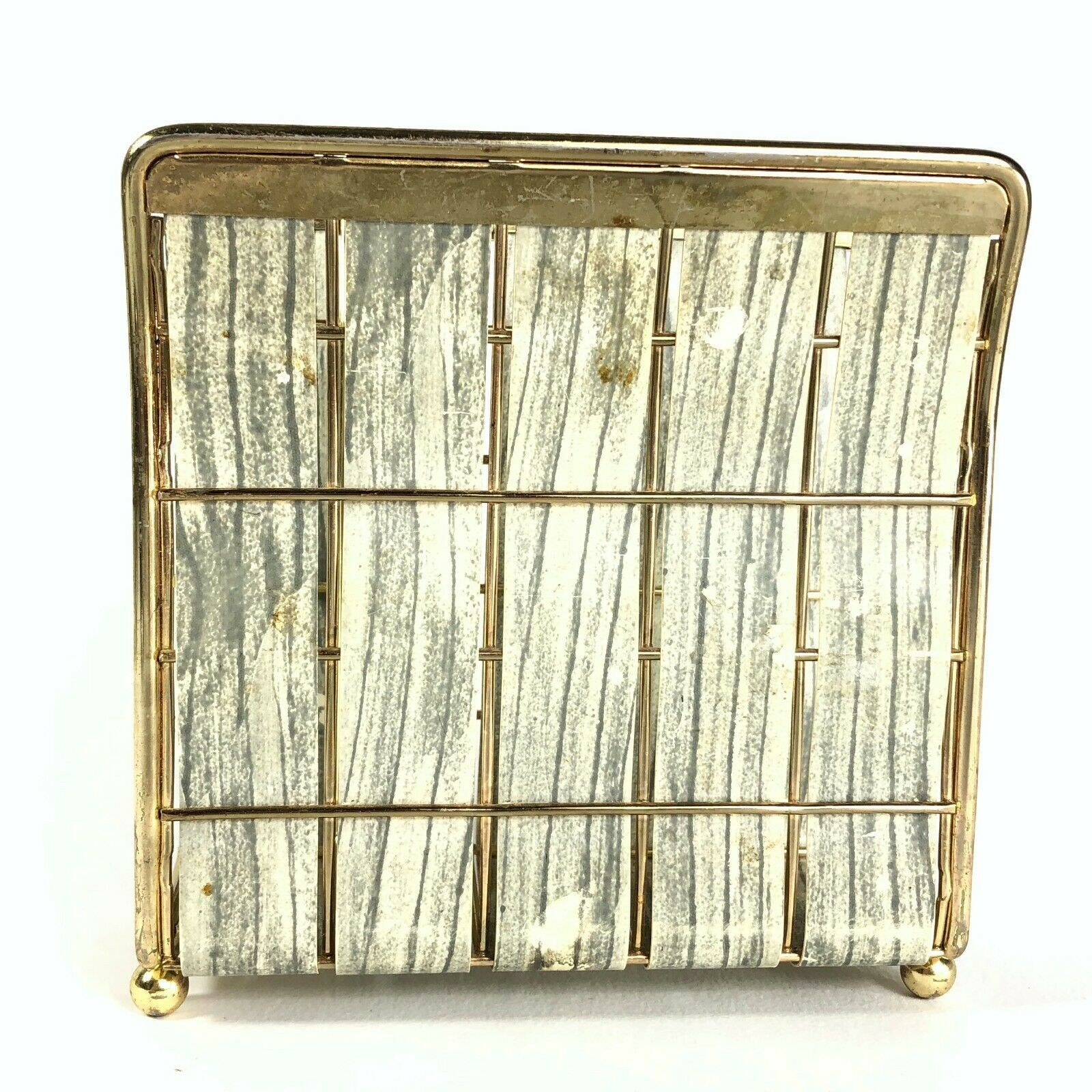 Vintage Mid Century Modern Wire Metal Napkin Holder - Woven Gray Faux Wood