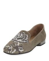 Donald Pliner Suede Floral Embellishment Flats HIRO Loafer Ballet Shoe 9.5 - $89.99