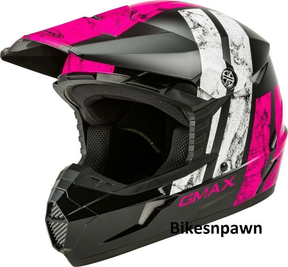 New Adult XL Gmax GM46 Dominant Black/Pink/White Offroad Helmet DOT