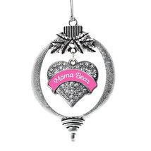 Inspired Silver Pink Script Mama Bear Pave Heart Holiday Christmas Tree Ornament - $14.69