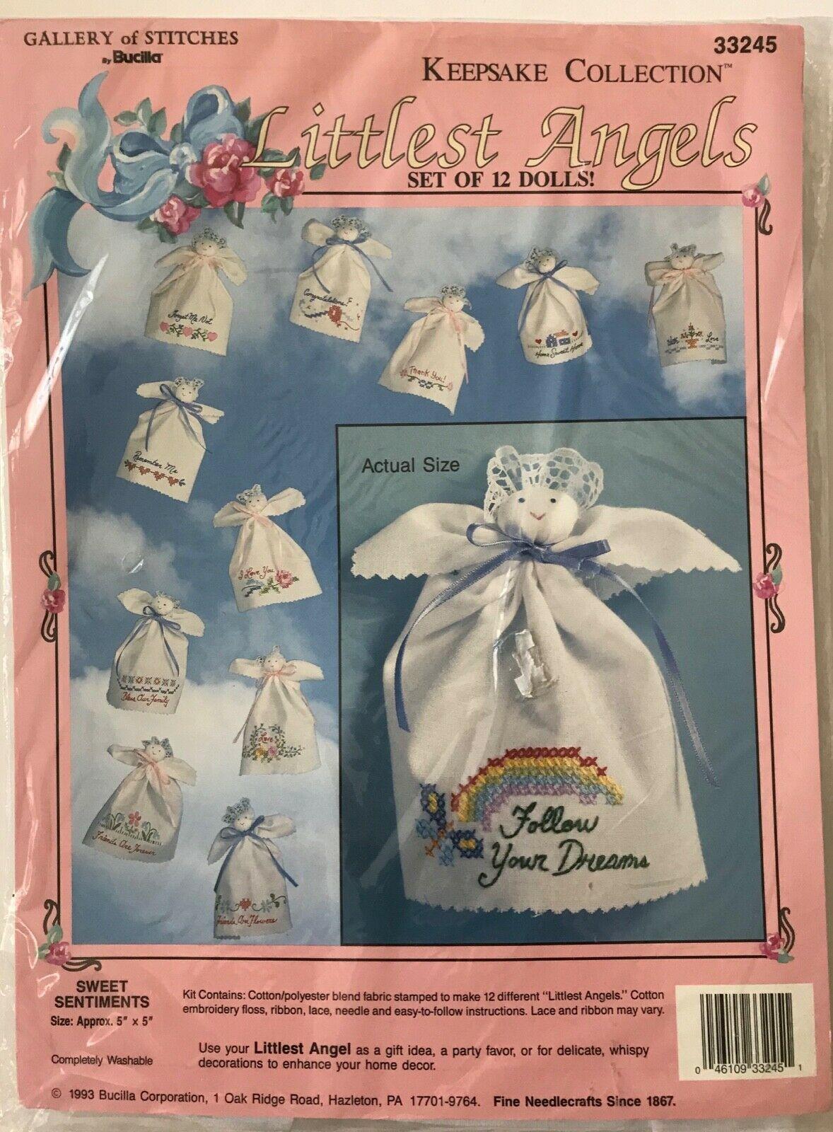 Bucilla Littlest Angels Sweet Sentiments 12 Cross Stitch Dolls Kit Party Favors - $14.50
