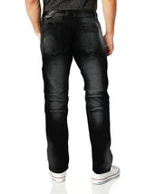 Contender Men's Cotton Moto Quilted Zip Distressed Ripped Destroyed Denim Jeans image 7