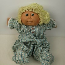 Vintage Cabbage Patch Kid Coleco Yellow Yarn Hair Blue Pajama Romper 1986 - $44.36