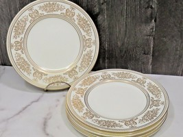 """Set of 6 Wedgwood Gold Columbia White 8 1/8"""" Salad Lunch Plates - $74.25"""