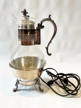 FB Rogers Silver Plate Coffee Carafe Pot electric Warmer Base Glass Tea ... - $26.96