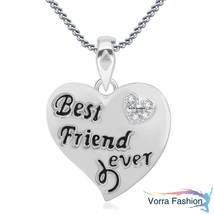 Best Friend Forever Pendant White Gold Plated Pure 925 Silver Round Cut ... - £41.27 GBP