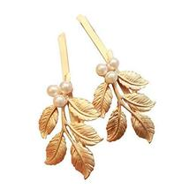 Set of 3 Beautiful Design Hair Pins Hair Accessories (Five Leaves with Beads)