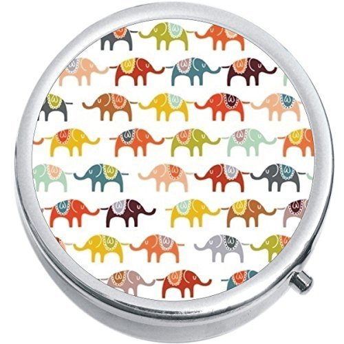 Primary image for Colorful Elephants Medicine Vitamin Compact Pill Box