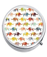Colorful Elephants Medicine Vitamin Compact Pill Box - $9.78