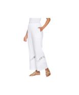 GRAVER Susan Graver Linen Ankle Pants Crochets,White ,Size 12 , NEW A302644 - $29.69