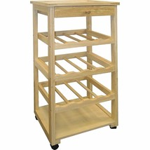 Natural Finish Wooden Wine Rack Table Holds 12 Bottles Kitchen Cart Rolling - $73.16