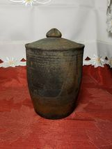 """VINTAGE HAND TURNED COVERED CLAY CANISTER / HUMIDOR 6.5"""" TALL WITH LID image 6"""