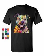 Beware of Pitbulls T-Shirt Dean Russo Colorful Pet Dog Lovers Mens Tee S... - €7,85 EUR