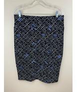 Lularoe L Cassie Skirt Black White Blue Geo Pop Art Textured Stretch - $16.99