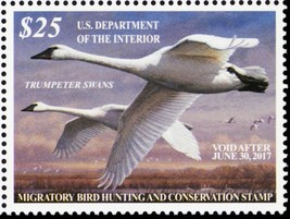 RW83, VF Mint NH 2016 Trumpeter Swans Federal Duck Stamp - Stuart Katz  - $42.00