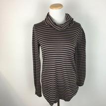 LOFT Ann Taylor Wome's Brown & Black Striped Turtleneck Sweater Size Medium  - $14.84